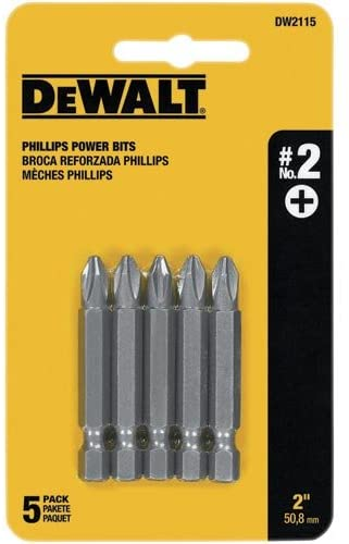 DEWALT Screwdriver Set, 2 Phillips, 2-Inch Power Bit, 5-Pack (DW2115)