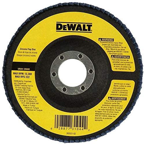 DeWalt 100mm FLAP DISC 100 X 22.23MM 60G TYPE 27 FLAT, Yellow/Black, DT3209-QZ