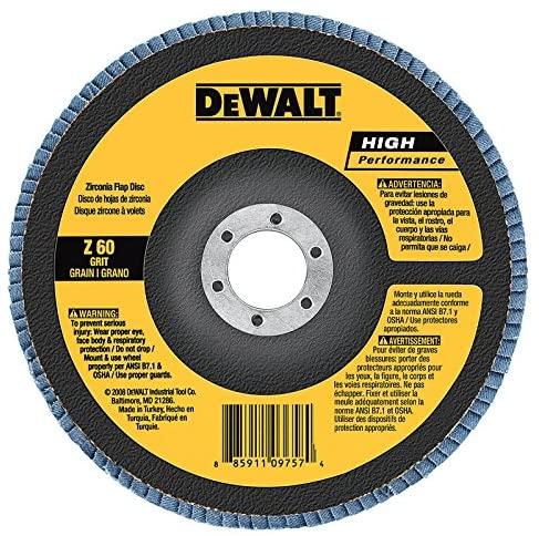 DEWALT DWA8203 80 Grit Zirconia T29 Flap Disc, 4-Inch X 5/8-Inch