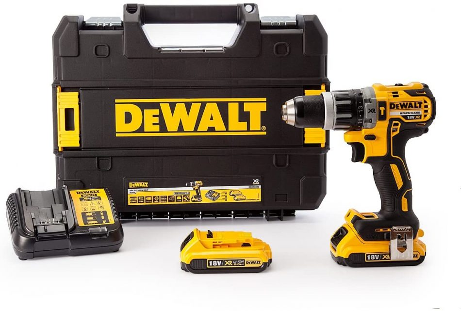 DeWalt 18V 13mm lithium ion, Brushless Motor Compact Hammer Drill Driver Kit,with Extra Battery, 1700 RPM, Yellow/Black, DCD796D2-GB, 3 Year Warranty