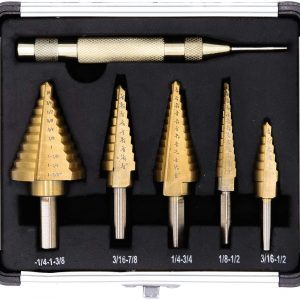 6-Piece Step Drill Bit Set by Volterin Cone Titanium Coated High Speed Steel with Box Total 50 Sizes   Multi-Functional Industrial DIY Metalworking
