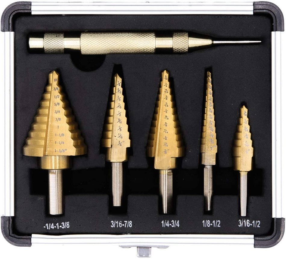 6-Piece Step Drill Bit Set by Volterin Cone Titanium Coated High Speed Steel with Box Total 50 Sizes | Multi-Functional Industrial DIY Metalworking
