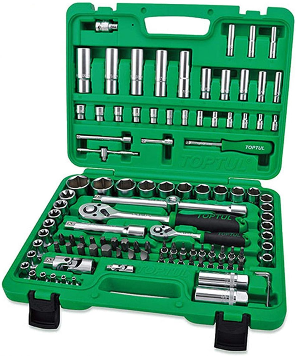 TOPTUL - 108PCS Professional Grade 1/4 inch and 1/2 inch DR. Flank Socket Set - GCAI108R