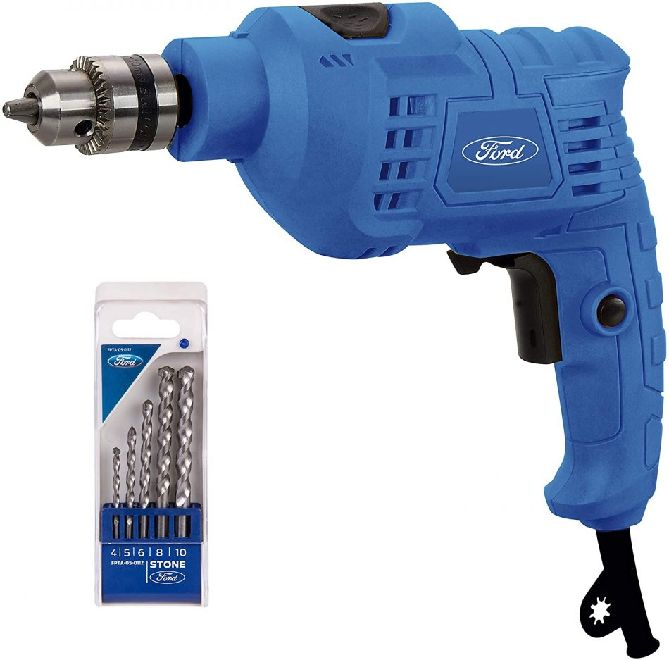 Ford FE1-1008 Electric Impact Drill with 5 Piece Concrete Drill Bit Set, 500W