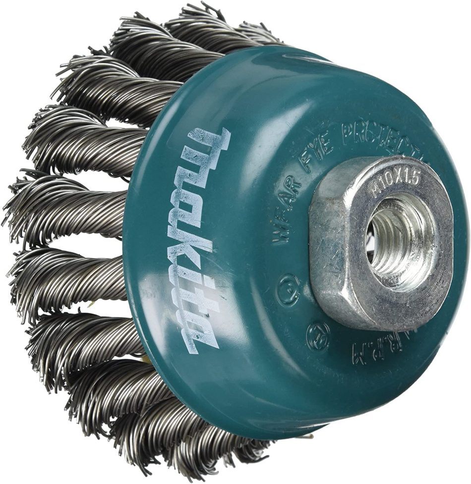 Makita D-24103 Twisted Steel Wire Bowl Cup Brush, 60mm Diameter, M10 x 1.5 Shank Size