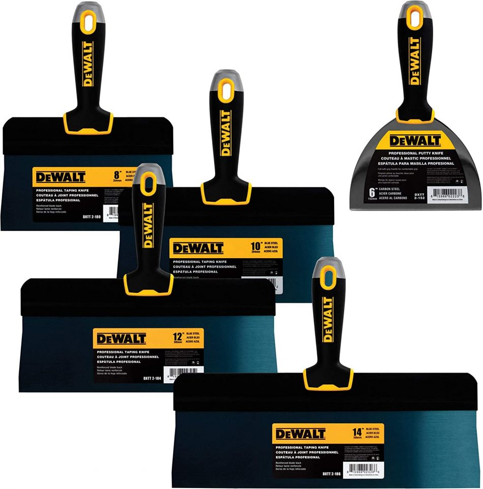 "DEWALT Blue Steel Big Back Taping Knife 4-Pack + FREE BONUS 6"" Soft Grip Putty Knife 